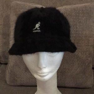 Vintage Kangol Black Angora Bucket Hat X Large